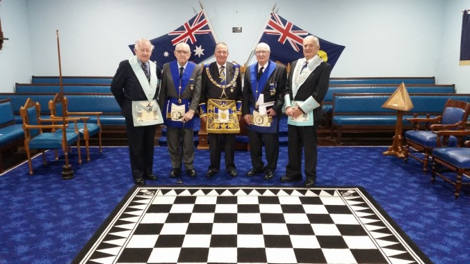 R W Bro Trevor Arbuckle, W Bro William Fisher (70 yr Jewel), W Bro James Maley, W Bro Robert Perry (65 yr Jewel)