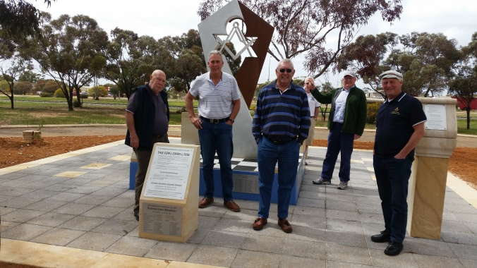Admiring the Masonic exhibition at Dalwallinu