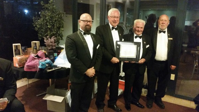 Present and past recipients of the Nulla Nulla award - VW Bro Lauder Coomber, RW Bro Bert Russell (Corinthian Family Lodge and RW Bro Ian Mansfiels (Seaview Lodge)